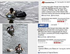 "glittapants: "" codelens: "" Classic example of Racism (White Supremacy) in the so-called mainstream media. The photo and its associated caption were released during the Hurricane Katrina aftermath,."