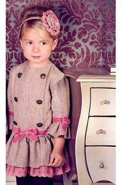 Vestido chica Dolce Petit manga tres cuartos beige y rosa