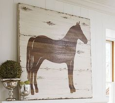 The Evolution of Home: A Horse Is Of Course A Piece Of Art DIY Pottery Barn horse silhouette Arte Pallet, Pallet Art, Pallet Wood, Diy Wood, Pallet Signs, Wood Pallets, Diy Wall Art, Wall Decor, Pottery Barn Look
