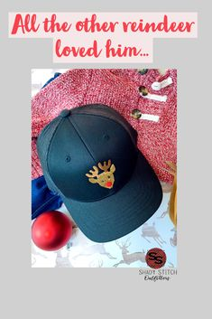5c5131714c1 This adorable trucker hat features everyones favorite reindeer. Sure to be  a hit this holiday