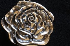 Silver tone Metalwork Rose Music Box Pendant by VanityJewelBox, $90.00