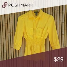 "Crisp Clean Cut Yellow Stretch Blouse size Medium Crisp Clean Cut Yellow Stretch button-up blouse with 3/4 length sleeves and elasticized waist, two chest pockets, two button cuffs. Like new condition. Label Size Medium - Layflat measurements : Length 24"" Bust 18"" -  3/4 Length Sleeve 17.5"" - 77% polyester /20% nylon / 3% spandex - machine wash     💲Bundle & Save!💲😀 🚫No Trades/No Holds 🙄😘  🔘Use OFFER button to negotiate👍🤑 ❔Please Ask ?'s BEFORE you Buy🤔😃 💕Thank you for shopping…"
