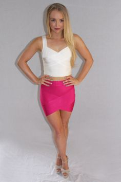 MIDNIGHT MISSION WHITE CROP TOP & MIDNIGHT MISSION PINK SKIRT Available now at www.emilylaine.com.au