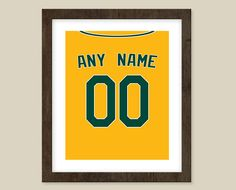 Oakland A's Poster Personalized Yellow Jersey by CSportImages