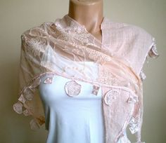 Powder Pale Pink Scarf Lace Scarf Bridal Shawl by fizzaccessory, $32.00
