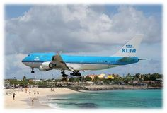 Princess Juliana Airport, Saint Maarten :: The airport is famous for its short runway at only 2,400 meters it is barely long enough for heavy jets to land. Therefore, incoming airplanes approaching the island have to fly extremely low, passing only 10-20 meters over relaxing tourists on Maho Beach.