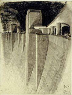 Hugh Ferriss art deco dam