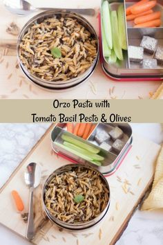 Easy-peasy Orzo pasta (wheat orzo) with tomato basil pesto and olives – A  delicious semi-homemade pasta recipe with minimal ingredients. #orzopasta #easypastarecipes #lunchboxrecipes