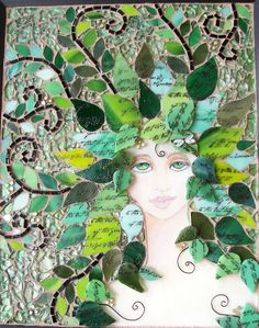 """Mixed Media mosaic """"Whisper in the Woods"""" 8x10 mixed media mosaic, acrylic paint, recycled clear glass, stained glass, tempered glass, wire, shrink plastic...by Sharon Kelly of Glass Garden Creations"""