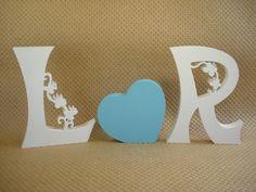 Letras mdf. Conjunto 2 letras e coração