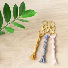 Mystery Grab Bag – Two Macrame Keychains Grey Soft Cotton Macrame Keychain with Gold Swivel Snap Hook Macrame Art, Macrame Projects, Diy Projects, Pom Pom Crafts, Yarn Crafts, Backpack Keychains, Activities For Girls, Macrame Plant Hangers, Macrame Patterns