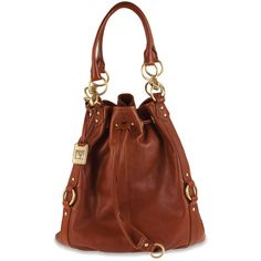 Holly Drawstring in Cognac ($498) ❤ liked on Polyvore featuring bags, handbags, purses, cognac leather purse, genuine leather purse, man bag, drawstring bags and leather purses