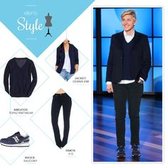 Ellen's Look of the Day: navy blazer, white button up shirt, navy v neck sweater, navy corduroys and sneakers