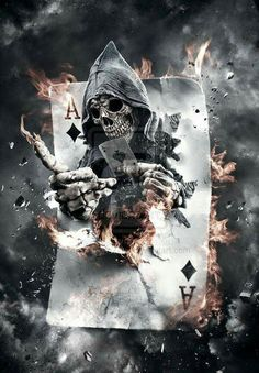 Ace 3d skull on fire