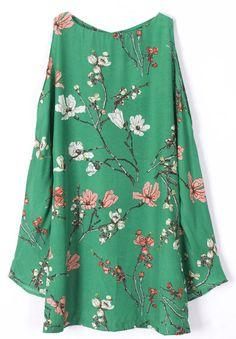Vestido gasa estampado flores-Verde