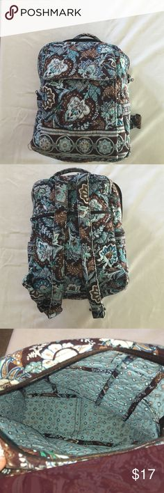 Vera Bradley booksack This backpack has a broken zipper on the main compartment and also has a wire poking out of the bottom (I attached a picture.) There is also a small tear on the front of the bag in the center, and it has no stains on it. Vera Bradley Bags Backpacks