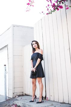 Sandro_Off_Shoulders_Dress-Night-Capsule_Collection-Outfit-Street_Style-LBD-Little_Black_Dress-11