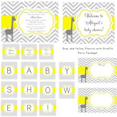 grey and yellow baby shower | PRINTABLE Gray and Yellow Chevron Giraffe Baby Shower Party Package ...