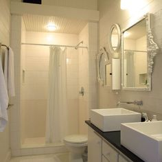 Showers Without Doors Design- this idea, with a curtain...but different tile