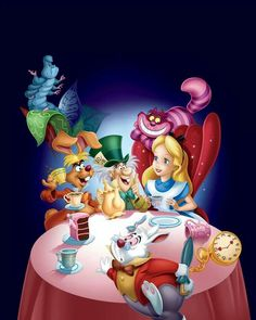 This photo shows all of the main characters from Wonderland. These characters are magical because they are talking animals who all have a specific magical power appointed to them that helps alice pursue her childhood in Wonderland.