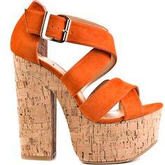 Luichiny Women's Van Buren - Orange Suede ($68) ❤ liked on Polyvore featuring shoes, heels, zapatos, orange, orange platform shoes, retro shoes, suede shoes, strappy shoes and high heel shoes