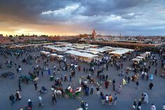 Elevated view over the Djemaa el-Fna, Marrakech (Marrakesh), Morocco, North Africa, Africa