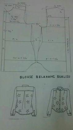 Pola blouse belakang berlisu