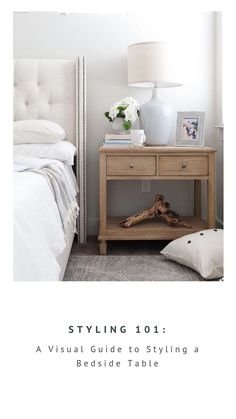 Not sure what to put on that bedside table? Here is a visual guide for creating … Not sure what to put on that bedside table? Here is a visual guide for creating a balanced space that is both functional and beautiful. Farmhouse Bedroom Furniture, Bedroom Furniture Sets, Bedroom Sets, Home Bedroom, Bedroom Table, Modern Bedroom, Painted Furniture, Contemporary Bedroom, Light Master Bedroom