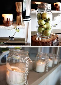 I love the mason jar candles for wedding &/or reception!