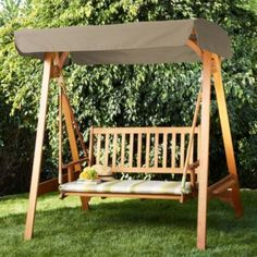 Aland Swing Bench with Striped Cushion, 0000004145851