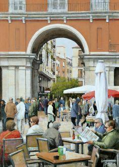 Guillermo Bekes - Plaza Mayor - Óleo s/tabla 42 x 30