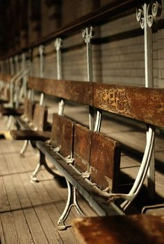 wooden seats in the old grand stand