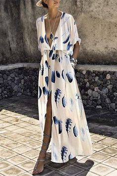 2dd56892deb Fashion Short Sleeves Floral Print Maxi Dress