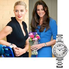 """A Cartier Ballon Bleu for Amber Heard and Kate, the Duchess of Windsor.  Both have chosen an iconic model created by the """"King of Jewellers, Jeweller of Kings"""".  http://www.hautehorlogerie.org/en/brands/brand/s/cartier/"""