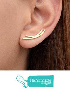 Pair of curved bar earring cuffs, sterling silver earrings, gold stud earrings, minimalist earrings, silver earcuffs, ear climber earrings handmade by Emmanuela from Emmanuela - Art in silver https://www.amazon.com/dp/B015T2H69Q/ref=hnd_sw_r_pi_dp_4eEMxb8PXY1T2 #handmadeatamazon