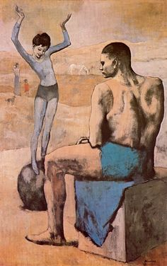 Pablo Picasso Rose Period painting - Acrobate à la Boule (Acrobat on a Ball) Kunst Picasso, Art Picasso, Picasso Blue, Picasso Paintings, Oil Paintings, Picasso Rose Period, Cubist Movement, Kunst Online, Georges Braque