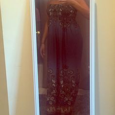 """Paisley Strapless Maxi Dress Strapless maxi dress with elastic bust for a snug fit for size small or medium. Floor length for woman who is 5'5"""" or 5'6"""". Dresses Maxi"""
