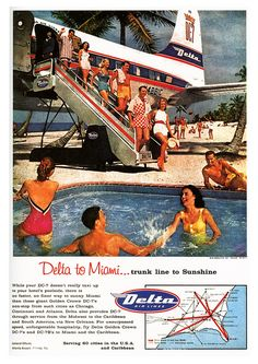 Now that's the kind of airport I could get behind!!! Delta Airlines ad from the 50s.