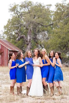 Cowgirl wedding; bridesmaids in peacock blue with brown cowboy boots! ;)