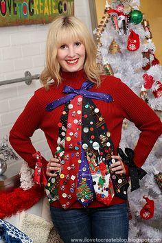 13 DIY Ugly Christmas Sweater Ideas That Are So Bad They're Good: Ugly Tie Christmas Tree Sweater from I Love to Create Homemade Ugly Christmas Sweater, Diy Ugly Christmas Sweater, Ugly Sweater Party, Xmas Sweaters, Christmas Jumpers, Tacky Christmas Party, Noel Christmas, Christmas Outfits, Christmas Ideas