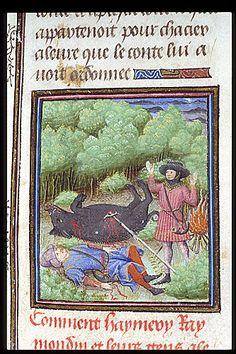 Raymond killing his uncle - detail, Harley 4418, Fol 017r, ~1450, Jean d'Arras, Roman de Mélusine (imperfect), Amiens, Northern France; houppelande