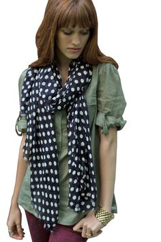 Women's Lucy Polka Dot Soft Fashion Scarf Wrap Fashionable Scarves, multicolor shawls, pashmina shawls, sarong wraps, cute, pretty, unique scarves, affordable, versatile shawls, designer scarves, stylish, modern, trendy, super soft, best value, great deals, boho chic, hippie style, infinity circle loop shawls, sexy cute infinity scarves,