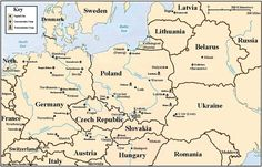 Holocaust map of Eastern Europe, indicating locations of major Nazi concentration and death camps. - Copyright by Jennifer Rosenberg