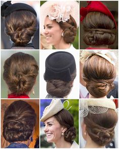 Some of Kate's beautiful up-do's from this year. I love how more often than not, each up-do we see on the Duchess is different. They are all intricate and beautifully finished; that's what you get when you pay £300 a day to a personal hairdresser whose previous clients were a young Prince William and Harry.