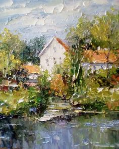 25 Ideas For Art Painting Landscape Nature Palette Knife Watercolor Pictures, Watercolor Paintings, Landscape Art, Landscape Paintings, Art Painting Gallery, Oil Painting Techniques, Palette Knife Painting, Abstract Canvas Art, Impressionist Paintings
