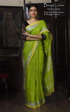 A pure Handloom Linen saree with Zari Border in Lime Green  Available for Sale from Bengal Looms India. Worldwide shipping and international card payment is available.