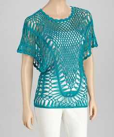Take a look at this Teal Crocheted Short-Sleeve Top by SR Fashions on #zulily today!
