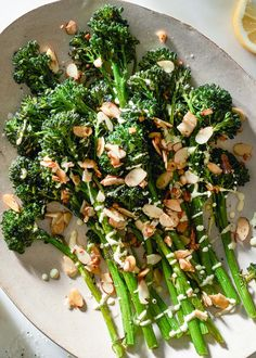 Roasted broccolini with creamy mustard sauce! EASY 15-minute side dish for chicken, steak, or pork chops. Vegan, Dairy-free, Paleo and Gluten-free!