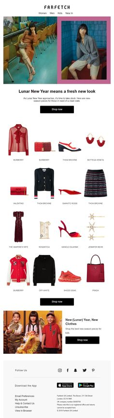 Lunar New Year email with red recommendations from Farfetch Lunar New, Email Marketing, Bag Accessories, Chinese, Retail, News, Fashion Design, Shopping, Sleeve