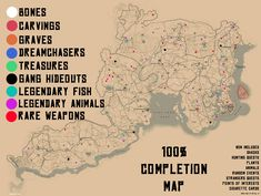 Red Dead Redemption 2 100% Completion Map